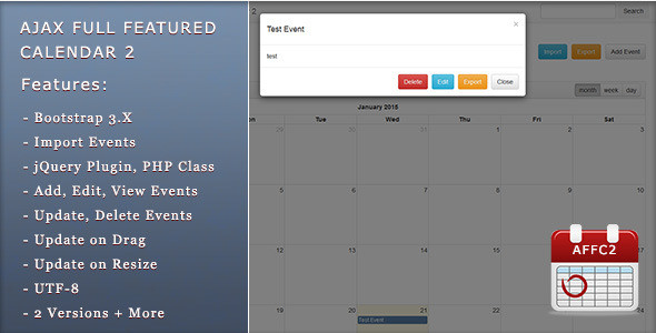 Ajax Full Featured Calendar 2 - PHP-Scripte|Kalender