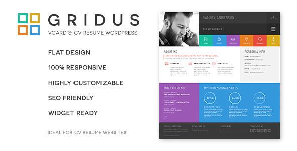 Gridus Vcard Lebenslauf Lebenslauf Wordpress Wordpressthemes