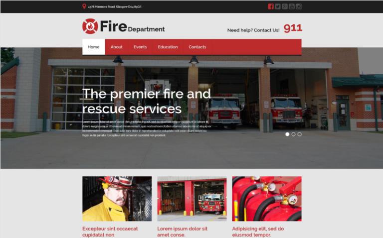 Responsive Website Vorlage für Feuerwehr